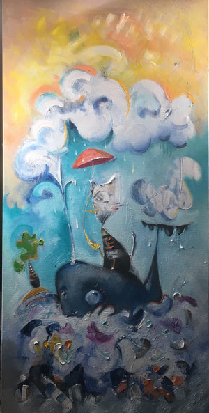 Cat and Whale 18x36 (SOLD)