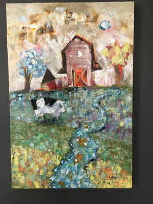 Oil painting of a cow on a farm with a barn and stream by Joe Smigielski