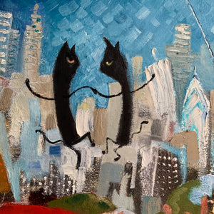Close up detail of a painting by Joe Smigielski featuring two dancing cats