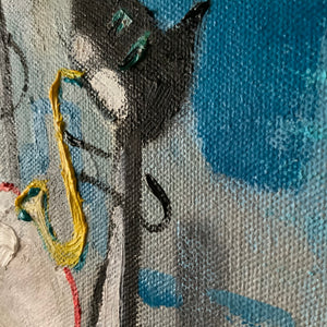 Detail of painting by Joe Smigielski.  The paint is thickly textured it is of a saxophone