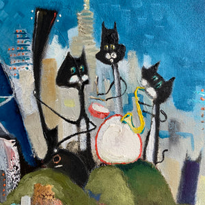 Close up detail of a painting by Joe Smigielski featuring cats playing music