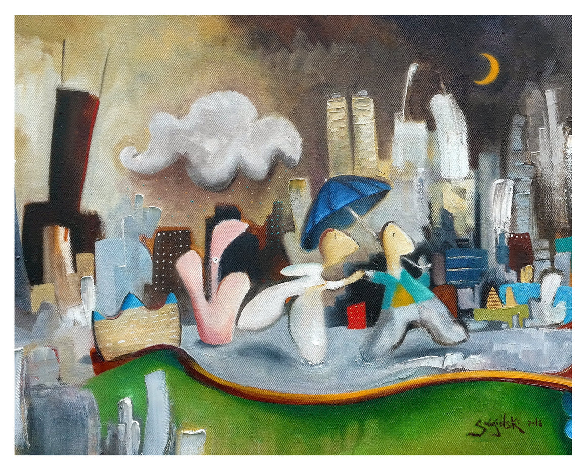 print of painting by artist joe smigielski couple in chicago architecture of skyline night time scene