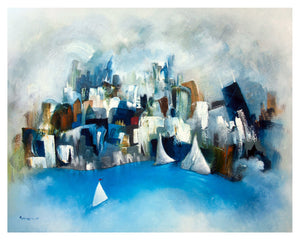 abstract blue chicago  matted print | sailboat skyline wall art | city decor
