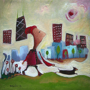 Top Seller | 5x5 girl and dog Chicago print | woman walking chihuahua cityscape | green downtown art | whimsical buildings | red coat