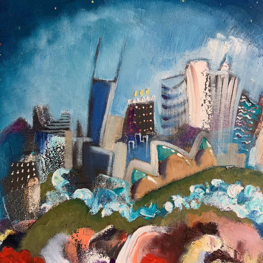 Painting By Joe Smigielski featuring a Chicago skyline at night with cats playing music and dancing