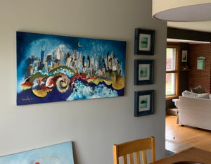 Photo of a painting called Chicago River Dance which is on a dining room wall