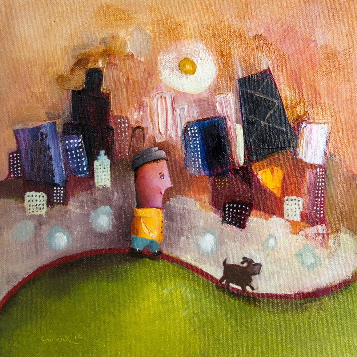 print of painting by artist joe smigielski featuring a boy walking a dog in Grant Park Chicago.