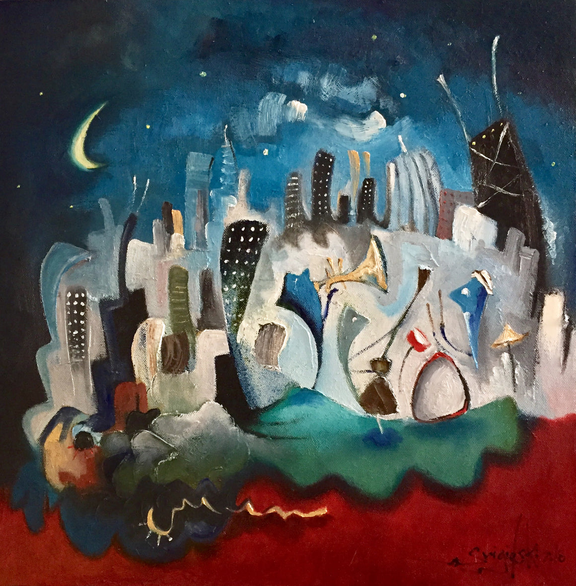 painting of a band at night with the Chicago skyline behind them painted by artist Joe Smigielski