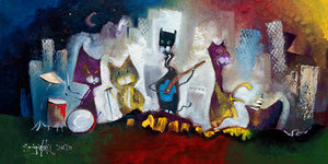 Print of a painting of cats playing music by Joe Smigielski
