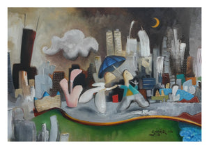 print of painting by joe smigielski couple in chicago at night whimsical art 5x7 print 8x10 mat