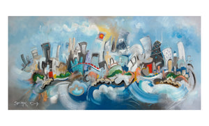 Print of a Chicago skyline painting by Joe Smigielski | Chicago Morning Music  - 4x8 Print