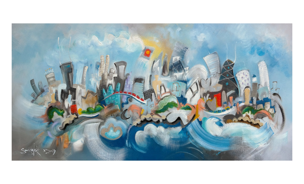 print of painting by artist joe smigielski chicago skyline whimsical fanciful painting of city 6x12 print in 11x14 mat