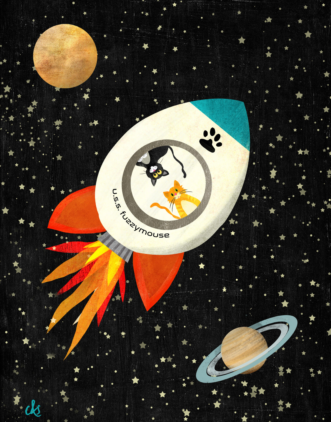 digital illustration of two cats in a rocket ship flying in outer space
