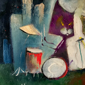 cat band painting | jazz music wall art | horizontal musician decor | joe smigielski cat painting