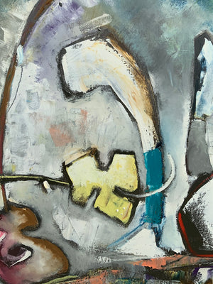 detail of a painting featuring a guitarist by artist Joe Smigielski