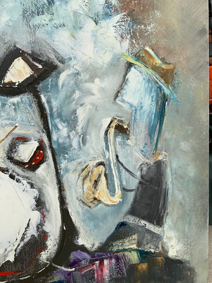 detail of a painting by Chicago artist Joe Smigielski featuring a saxophone player..
