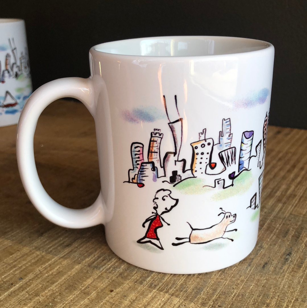 Chicago Woman and dog mug | affordable gift for  dog lover | whimsical skyline art