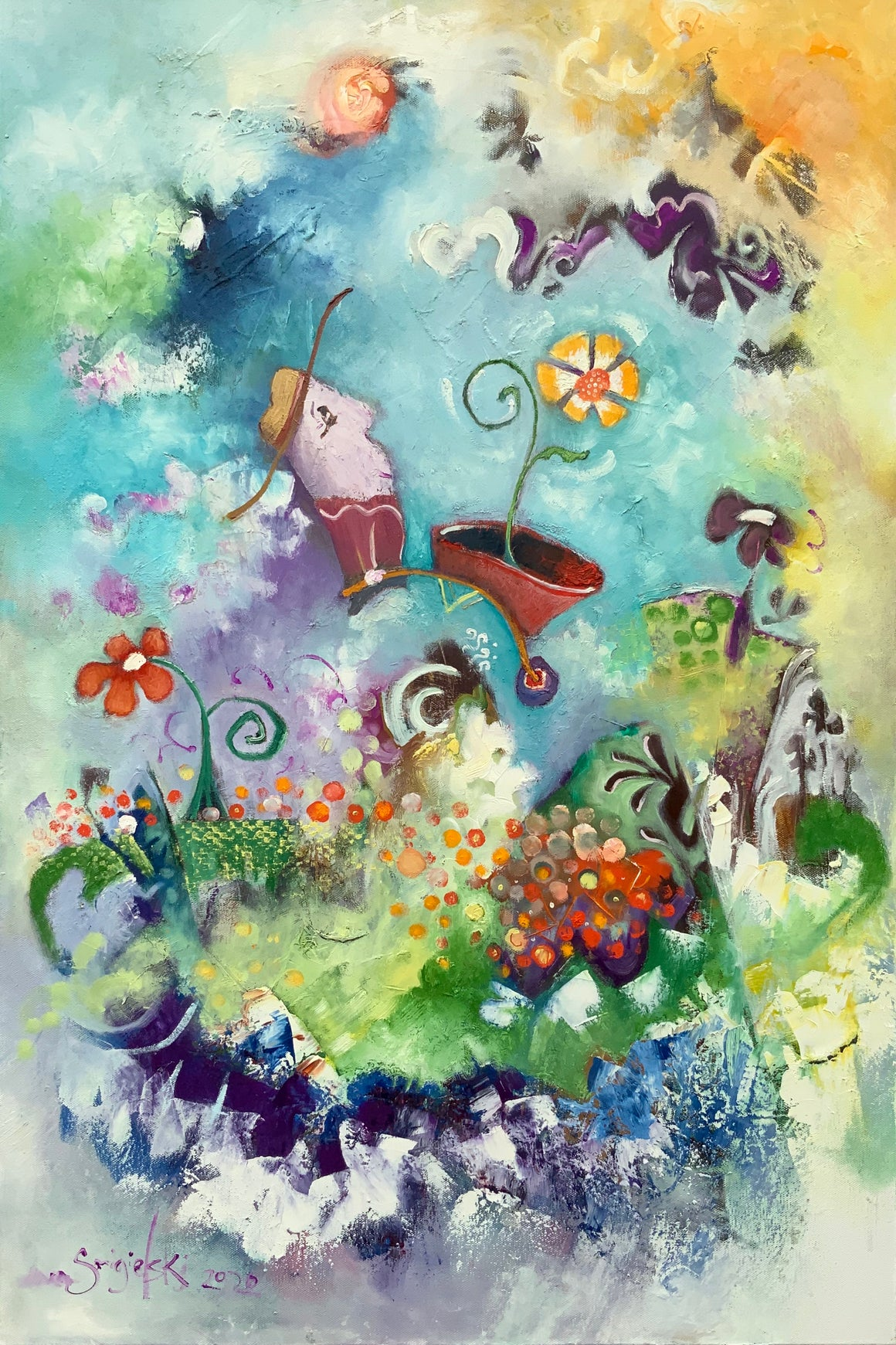 SOLD Gardening painting | whimsical gardener wall art | planting flowers violet decor