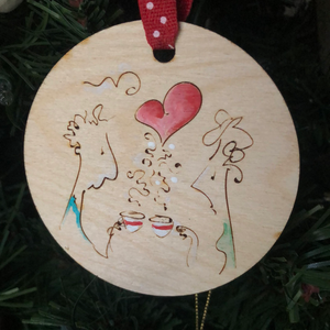 Couple drinking  coffee ornament