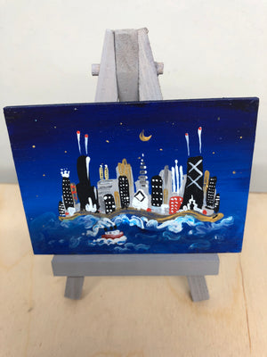 Miniature painting of Chicago at night  by Smigielski |