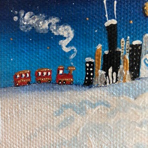 Chicago Winter mini painting | night skyline scene  | Train in the snow