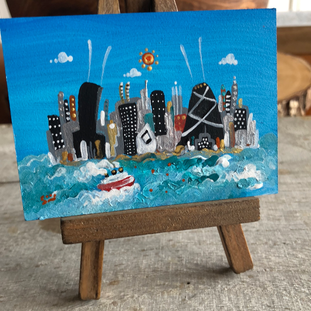 tiny original chicago skyline painting |mini blue cityscape | ooak easel art