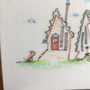 5x7 dog drawing | gift for dog lover| whimsical house  illustration