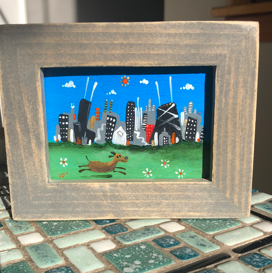 dog  in Chicago painting |mini  cityscape | ooak easel art