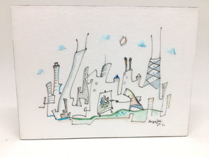SOLD  depiction of artist | chicago artwork | small skyline drawing