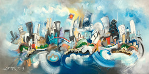 SOLD. Chicago Morning Music | Music inspired Chicago skyline  | 2x4 feet