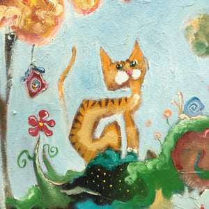 Original painting of an orange cat by Joe Smigielski | cat art | Brook Cat