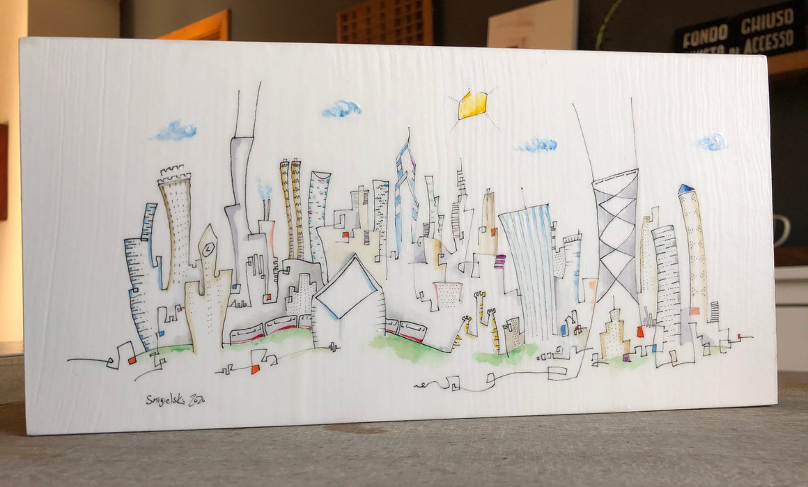 6x12 Chicago skyline  drawing | gift for Chicago lover |  CTA decor