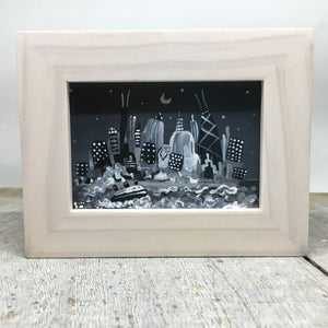 Black and white miniature painting of Chicago on an  easel or framed by Smigielski | Chicago Noir
