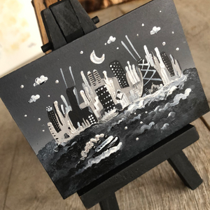 Black and white Chicago painting |mini  cityscape | night scene easel art | retro boat