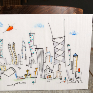 4x8 Chicago skyline  drawing | gift for Chicago lover | whimsical cityscape architecture