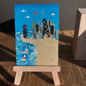 mini chicago beach scene painting | tiny sailboat art |  Lake Michigan skyline |
