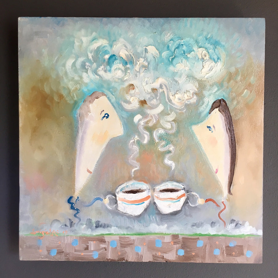 couple drinking coffee painting | kitchen wall art | dining decor