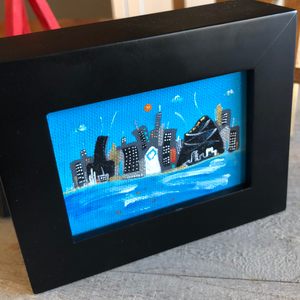Chicago skyline painting |  mini cityscape | whimsical architectural landmarks