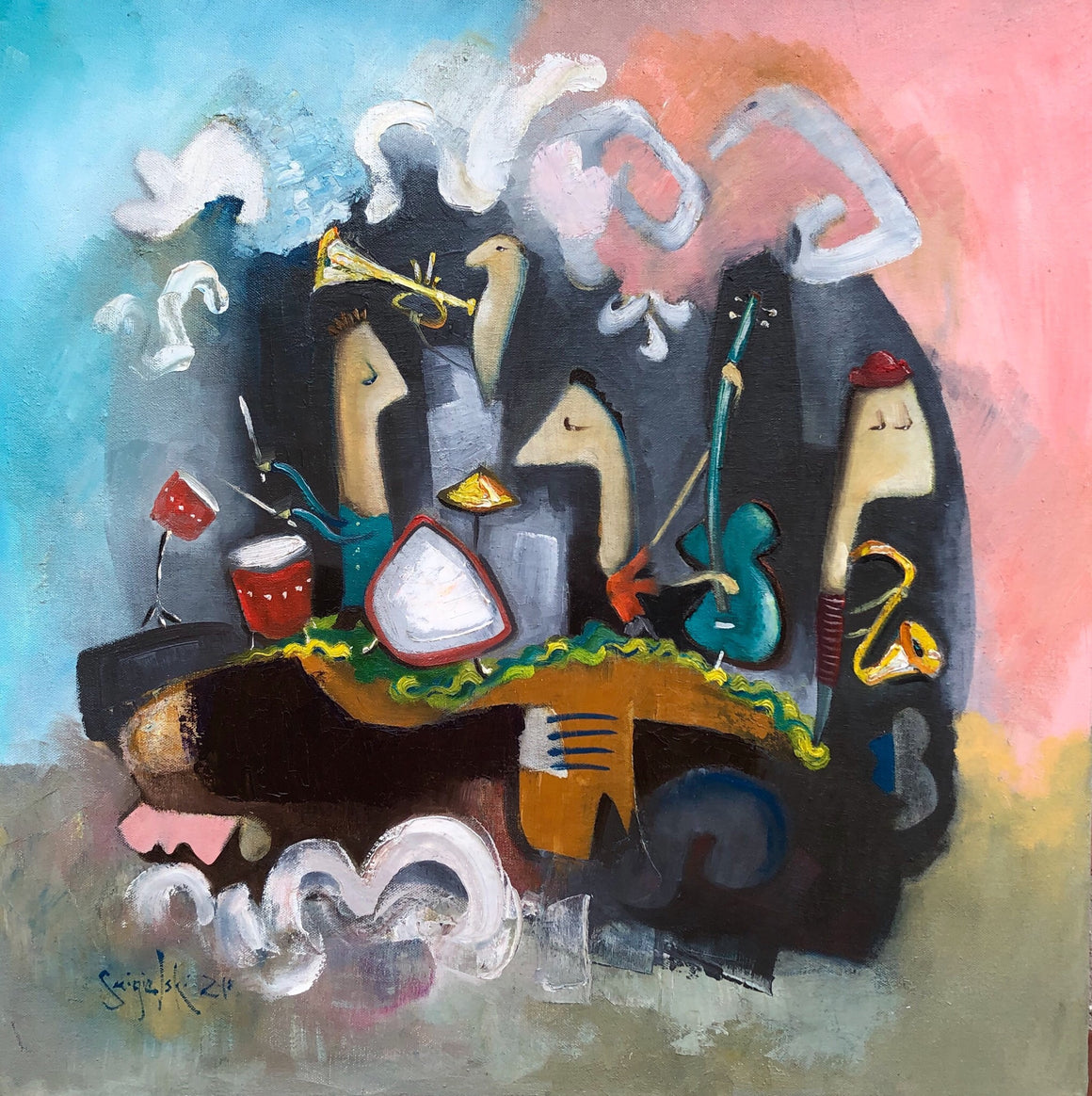 original oil painting of musicians | music art | playing instruments picture | square format