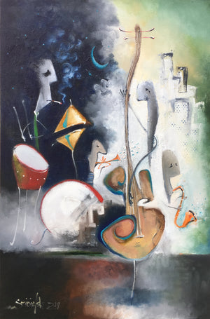 SOLD Tune for a Blue Moon | sold smigielski painting