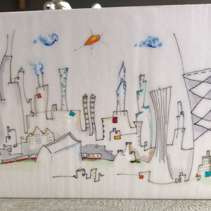 4x8 Chicago skyline  drawing | gift for Chicago lover | whimsical cityscape architecture 2