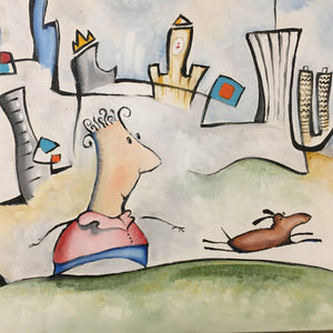 Original painting of man and dog in Chicago | boy and dog cityscape | whimsical white wall art