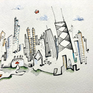 Matted  Chicago dog lover drawing | hand drawn skyline | Whimsical city wall art