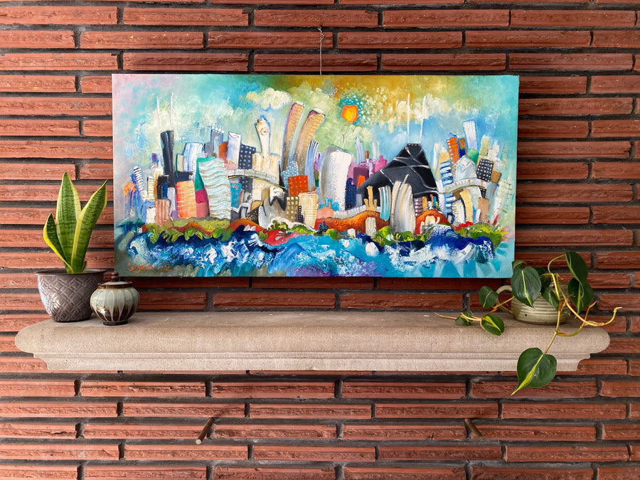 18x36  Chicago skyline painting | celebration of color