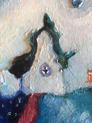 Cat and house oil painting