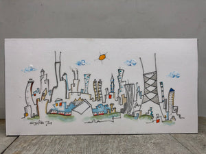 Chicago cityscape line drawing | CTA train wall decor | skyline shelf art | whimsical architecture