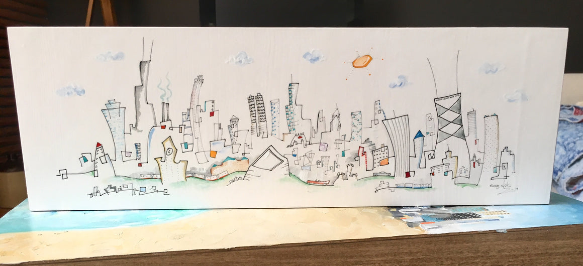 """Red Line, Blue Line"" Chicago skyline drawing 