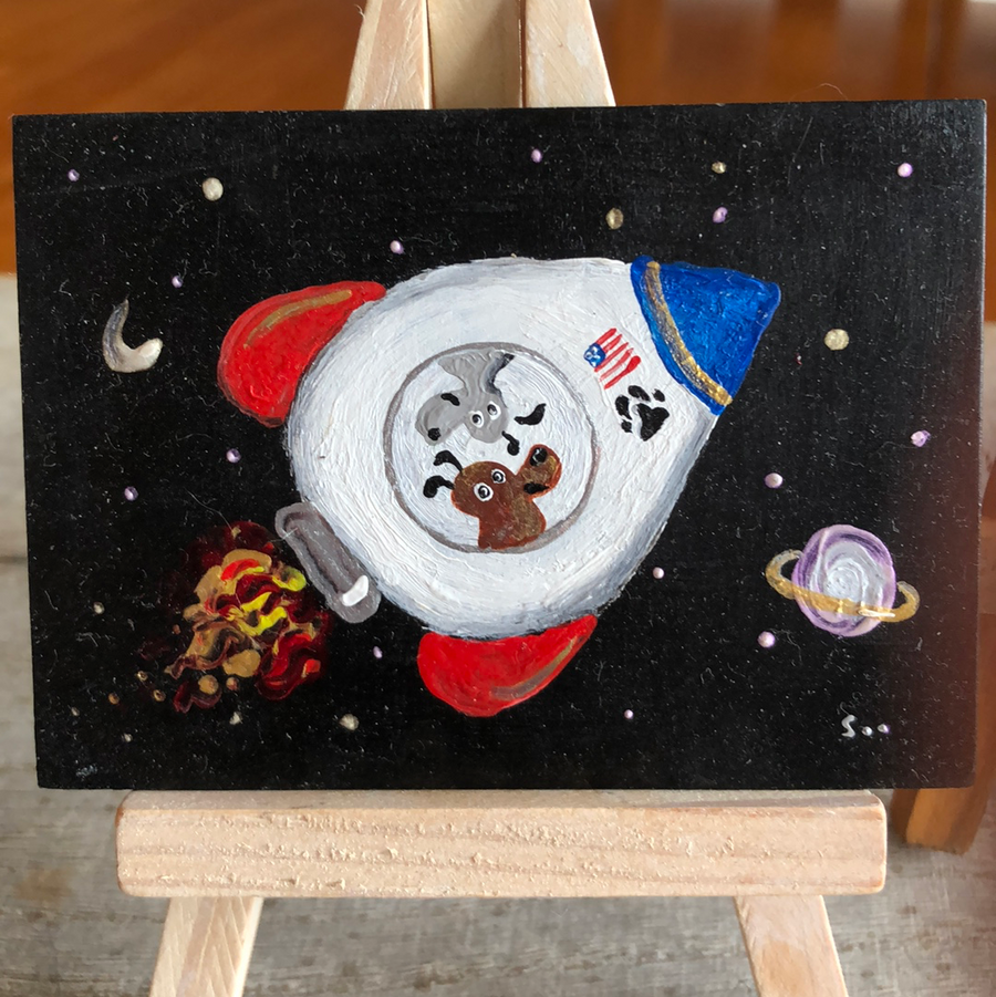 Rocket dogs miniature art |  gift for dog lover | small space puppy decor
