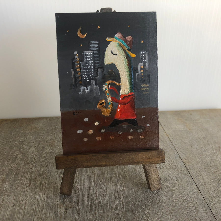 miniature saxaphone painting | mini sax player art | tiny easel decor