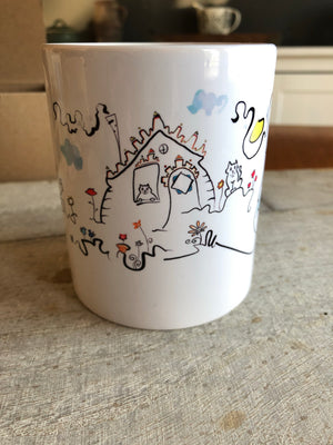 Cats and houses  mug | multiple cats | gift for cat lover